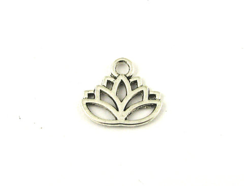 Lotus Flower Antique Silver Charm