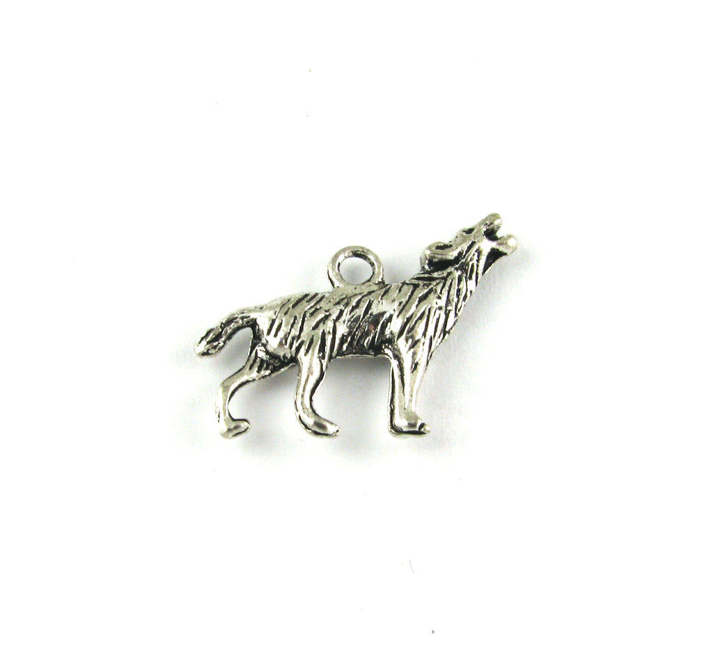 Wolf Howling Antique Silver Charm