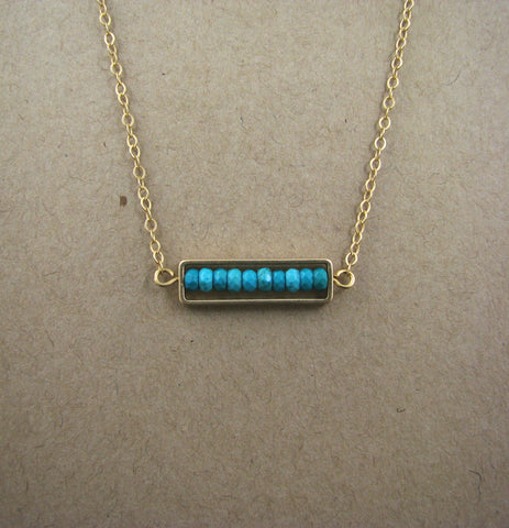 Framed Genuine Turquoise Semi-Precious Stone Bar on Matte Gold Plated Link Chain