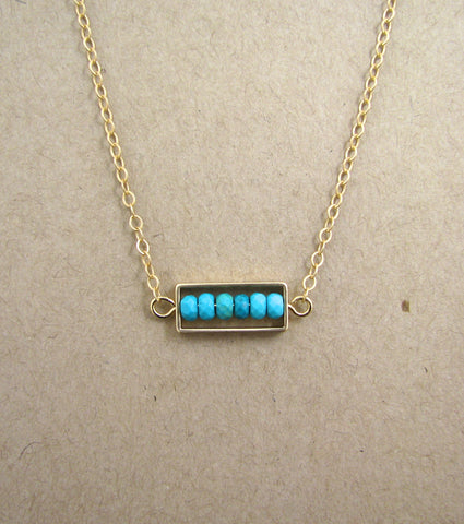 Small Framed Genuine Turquoise Semi-Precious Stone on Matte Gold Plated Link Chain