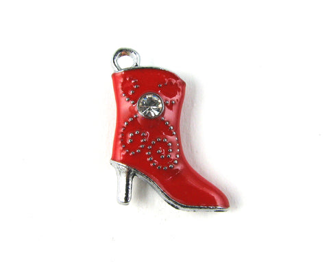 Red High Heeled Boot Silver Toned Charm