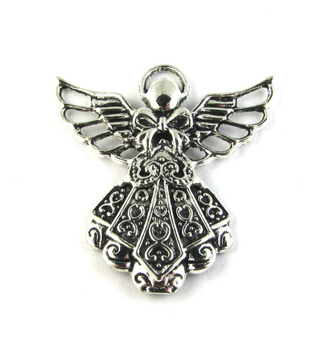 Angel w/Lace Dress Antique Silver Charm