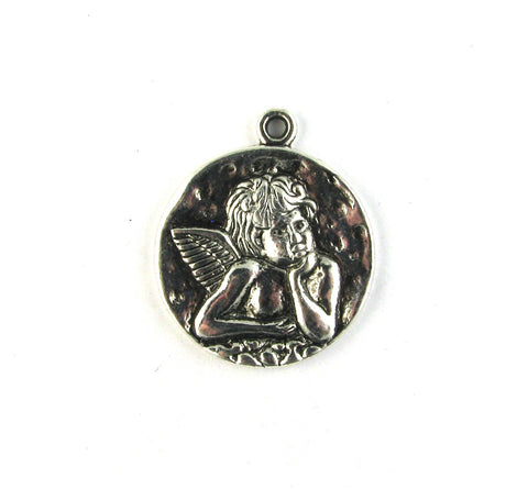 Raphael's Thinking Angel Antique Silver Charm