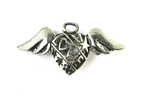 """Love"" Puffed Heart w/Wings Antique Silver Charm"
