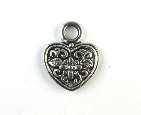 Heart w/Flower Antique Silver Charm
