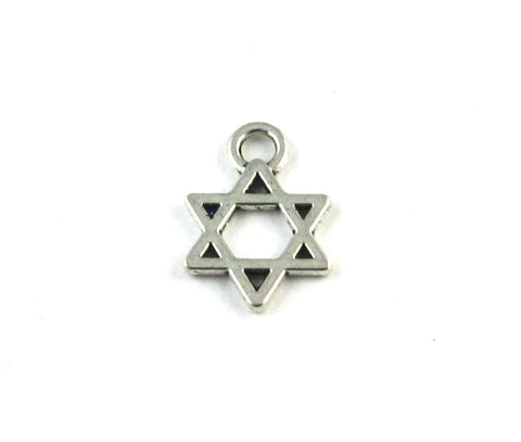 Small Flat Star of David Antique Silver Charm