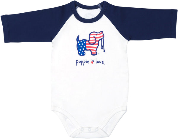 USA Red, White, & Blue Baby 3/4 Length Red Sleeve Onesie