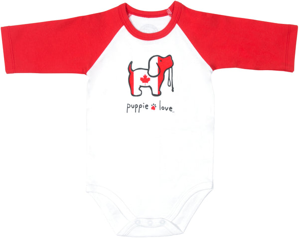 Canada Baby 3/4 Length Red Sleeve Onesie