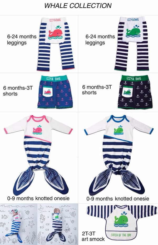 Navy and White Whale Baby Leggings Baby Leggings Izzy & Owie - GigglesGear.com