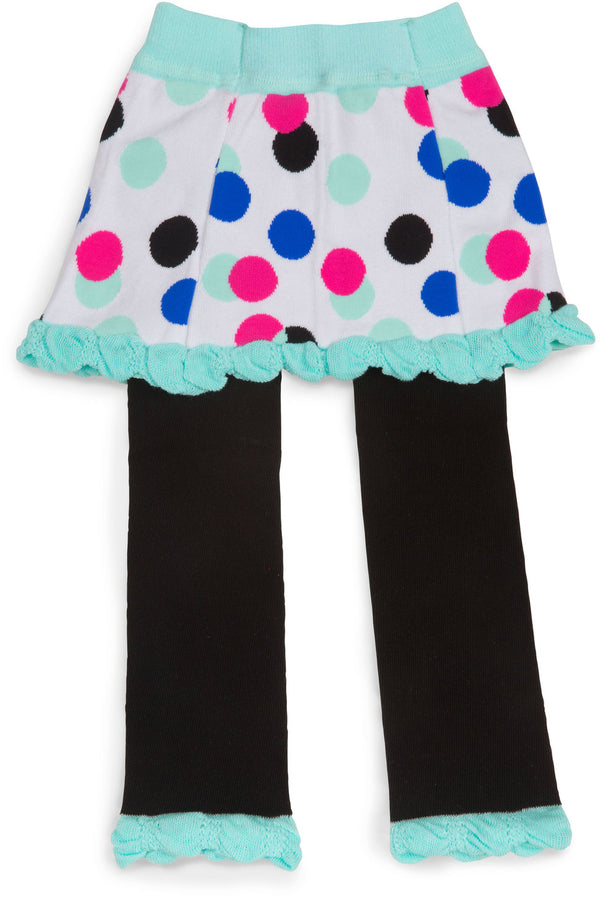 Mint & Black Skirted Polka Dot Baby Leggings Baby Leggings Izzy & Owie - GigglesGear.com