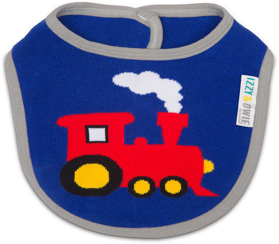 Red and Blue Train Baby Bib Baby Bib Izzy & Owie - GigglesGear.com