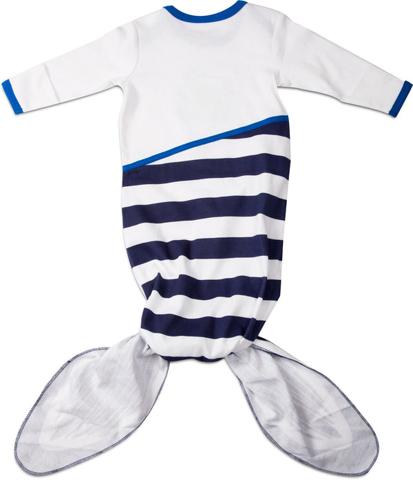 Navy and White Whale Knotted Baby Onesie 0-9 M Baby Onesie Izzy & Owie - GigglesGear.com