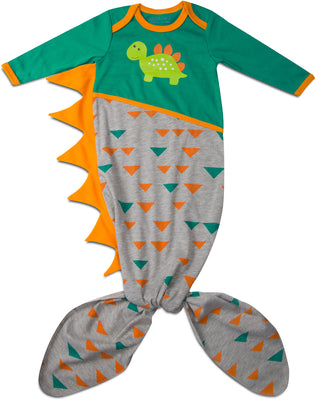 Teal and Gray Dino Knotted Baby Onesie 0-9 M