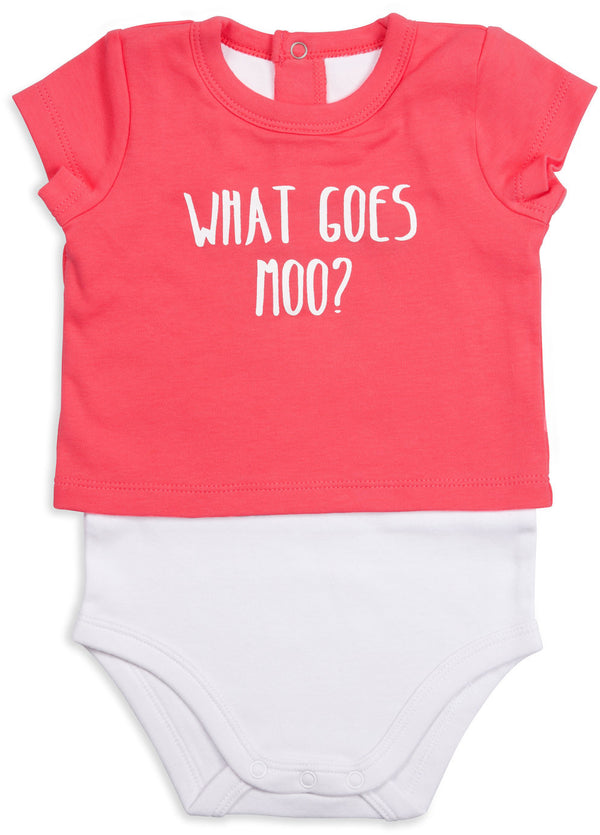 What Goes Moo? Pink Cow Baby Shirt-Onesie Baby Onesie Izzy & Owie - GigglesGear.com