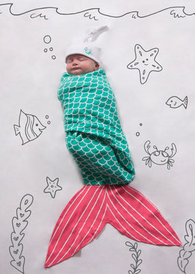 Seafoam Mermaid Baby Swaddle Wrap