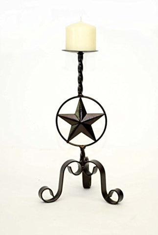 "Handmade Wrought Iron Small Candle Holder, Star Design-14""H"