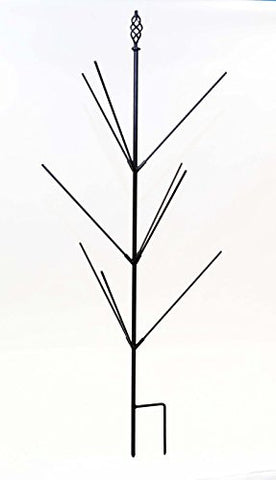 Wrought Iron Bottle Tree Stake, Holds 9 Bottles- 48 Inches High.