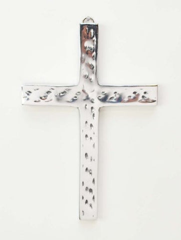 "Polished Aluminum Hammered Look Wall Cross- 8.5""H."