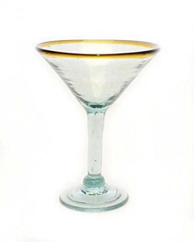 Set of 4, Amber Rim Martini Glasses,Recycled Glass-12 Ounces.