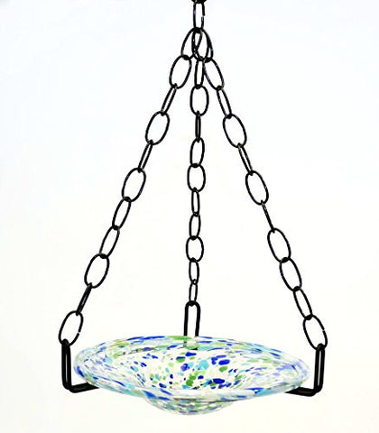 Small Hanging Bird Feeder with Ocean Blue Confetti Bowl-16 inches high x 8-10 inches wide.