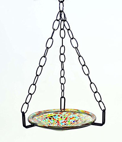 Small Hanging Bird Feeder with Confetti Bowl-16 Inches High x 8-10 Inches Wide.