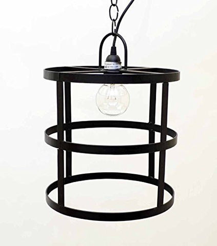 "Cylinder Frame Hanging Lamp with Socket Set & 3 Feet of Chain-12""H x 12""D."