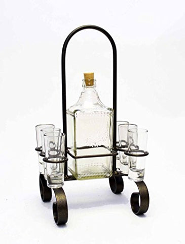 "Iron Carrier with Tequila Bottle and Shot Glass- 16""H."