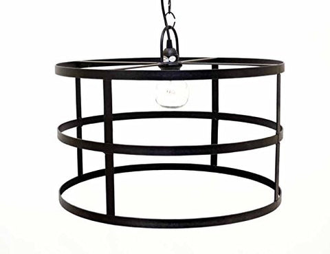 "Cylinder Frame Hanging Lamp with Socket Set & 3 Feet of Chain-12""H x 20""D."