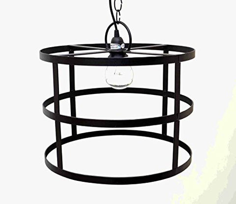 "Cylinder Frame Hanging Lamp with Socket Set & 3 Feet of Chain- 12""H x 16""D."