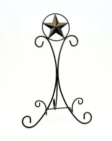 "Iron Cookbook/Picture Frame Display Easel, Star Design-20.25"" H."