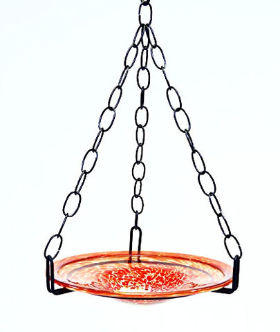 Small Hanging Bird Feeder with Confetti Red Bowl-16 Inches High x 8-10 Inches Wide.