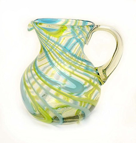 Aqua and Lime Swirl Ball Pitcher-80 Ounces. Handmade with Recycled Glass.