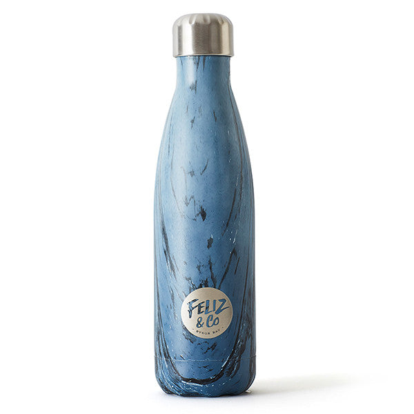 Feliz & Co Water Bottle - Blue Marble 500ml - Barefoot Blvd