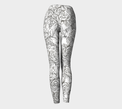 SKETCH ROSES Black on White Yoga Pants - Liz Lauter Designs