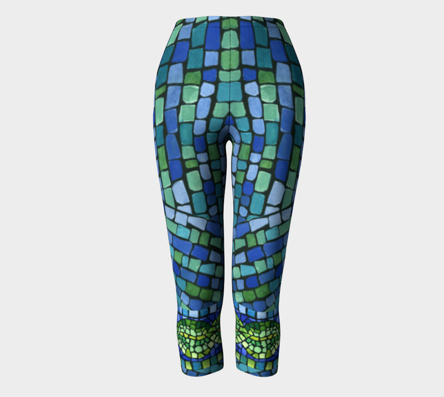 Blue & Green Tiles Capris - Liz Lauter Designs