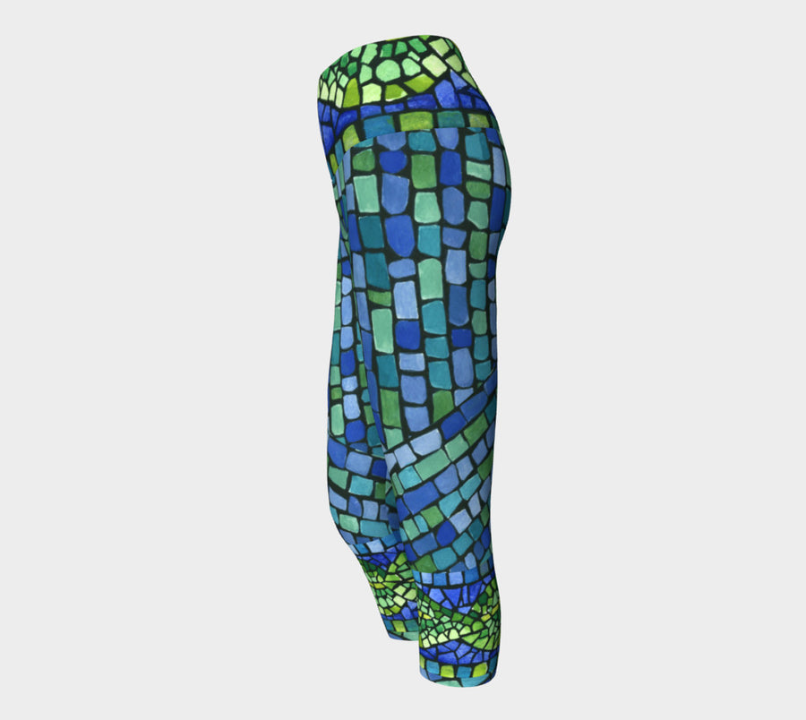 Blue & Green Tiles Yoga Capri - Liz Lauter Designs