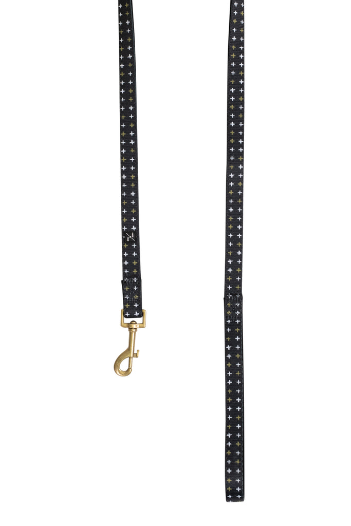 Neoprene Lead - Black Metallic Cross Print