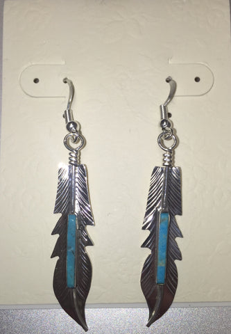 Turquoise Silver Feather Earring