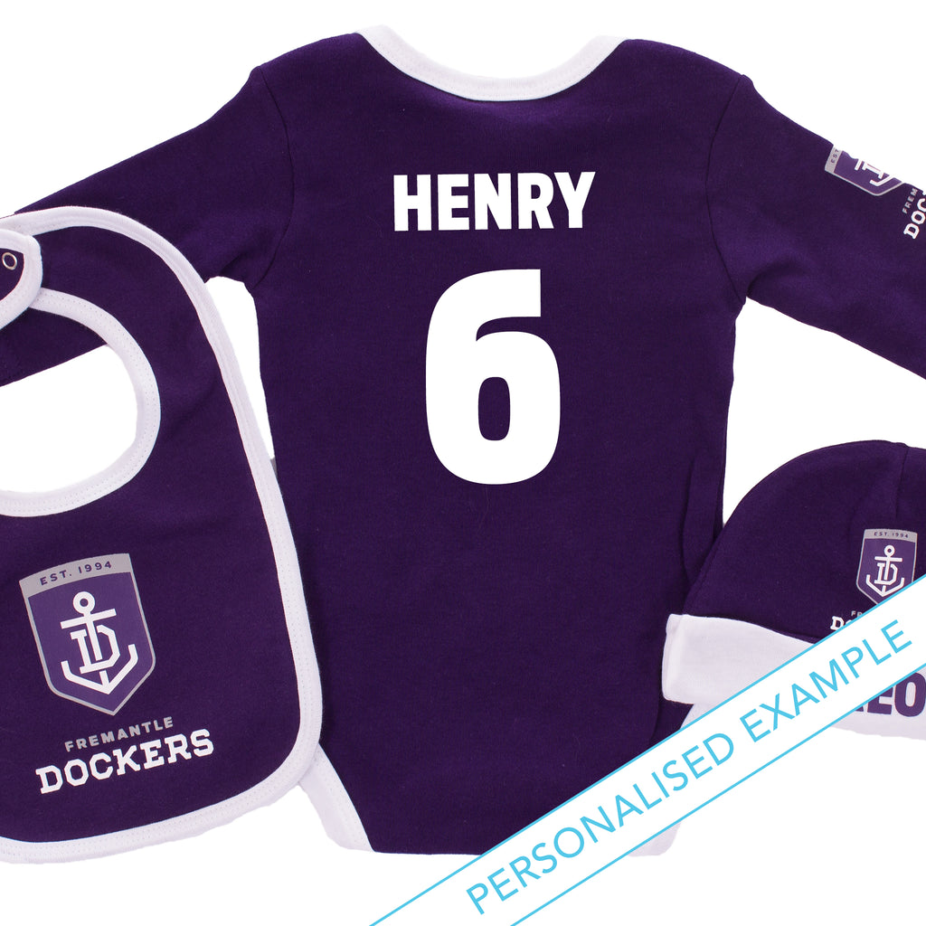 AFL Fremantle Dockers 3pc Bodysuit Gift Set AshTabula