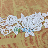 White Floral Lace Ribbons Water Soluble Lace Trim sell by yard