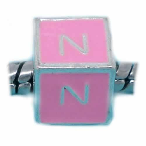 """N"" Letter  Square Charm Beads Pink Enamel European Bead Compatible for Most European Snake Chain Charm Bracelets"