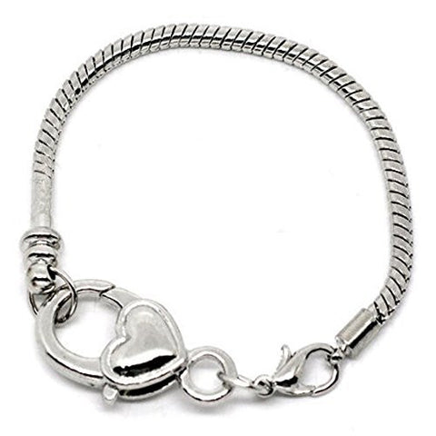 "Heart Lobster Clasp Charm Bracelet Silver Tone (7.5"") - Sexy Sparkles Fashion Jewelry - 1"