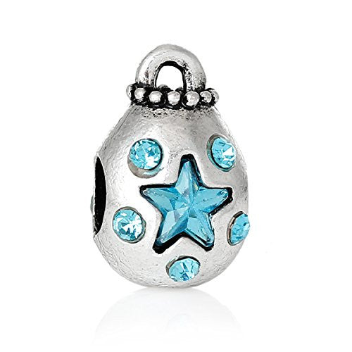 Money Bag With Blue Crystals Charm Bead Spacer for European Snake Chain Charm Bracelets