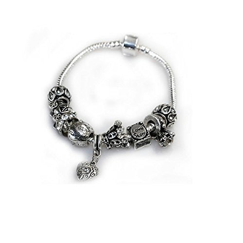 "8"" Love Story Charm Bracelet Pandora Style, Snake chain bracelet and charms as pictured"