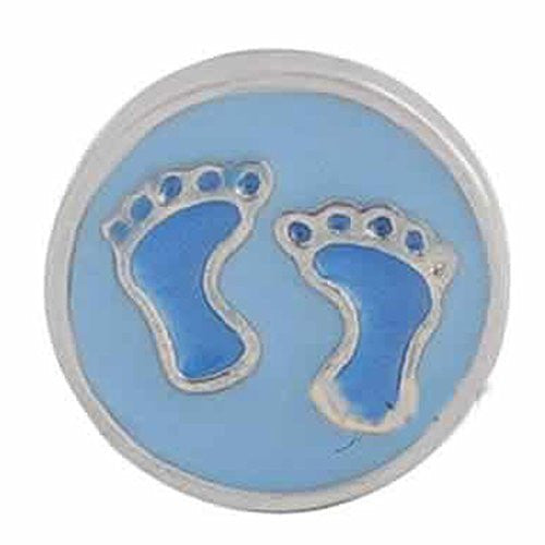 Round Locket Crystal Necklace Base and Floating Family Charms (Baby Feet)