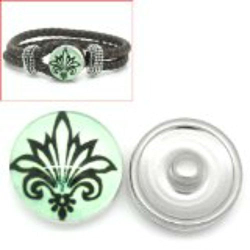 Fleur-de-lis Flower Design Glass Chunk Charm Button Fits Chunk Bracelet 18mm for Noosa Style Bracelet