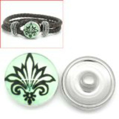 Fleur-de-lis Flower Design Glass Chunk Charm Button Fits Chunk Bracelet 18mm for Noosa Style Bracelet - Sexy Sparkles Fashion Jewelry - 1