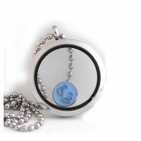 Round Locket Crystal Necklace Base and Floating Family Charms (Baby Feet) - Sexy Sparkles Fashion Jewelry - 2