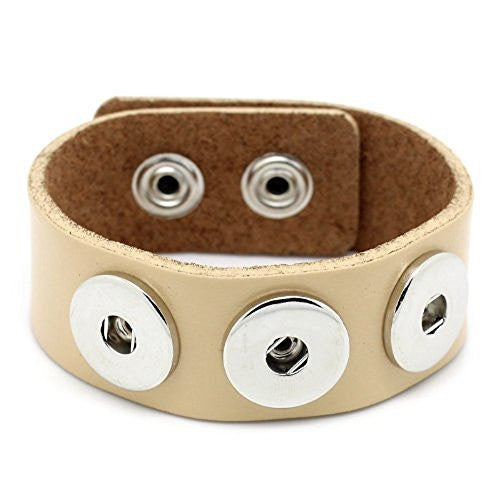 Real Leather Copper Buckle Bracelets Khaki Chunk Buttons Fit Interchangeable Snap Fasteners 24cmx2.4cm