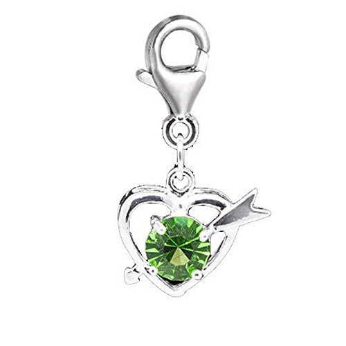Clip on August Birthstone Charm Pendant for European Jewelry w/ Lobster Clasp